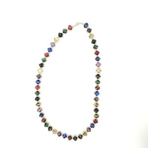 Jewelry - Multi-colored beaded necklace with gold accents